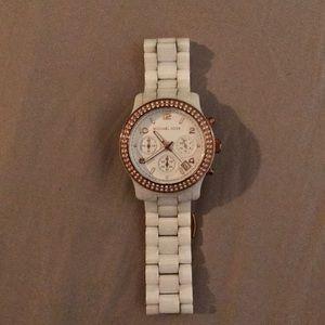 Michael Kors white ceramic watch w/gold